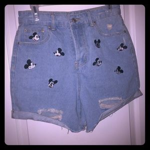 *RARE* Zara Mickey Embroidered Denim Shorts